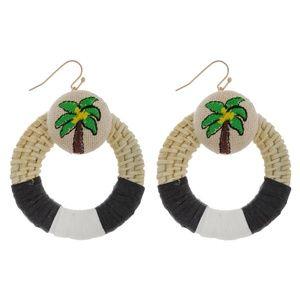Raffia Palm Tree Drop Pierced Earrings NWT